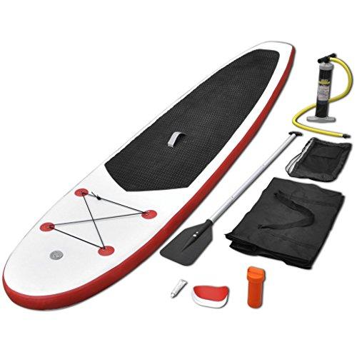Festnight SUP Surfboard Aufblasbar Stand Up Paddle Board Tragkraft bis 100Kg Rot und Wei? 330 x 68 x 10 cm