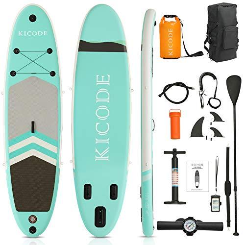 ephex Stand Up Paddle Board Set, Aufblasbare SUP Board, Mit Paddleboards Zubehör 10L wasserdichte Tasche, Tasche, Flossen, rutschfestes Deck, Leine, Paddel und Pumpe