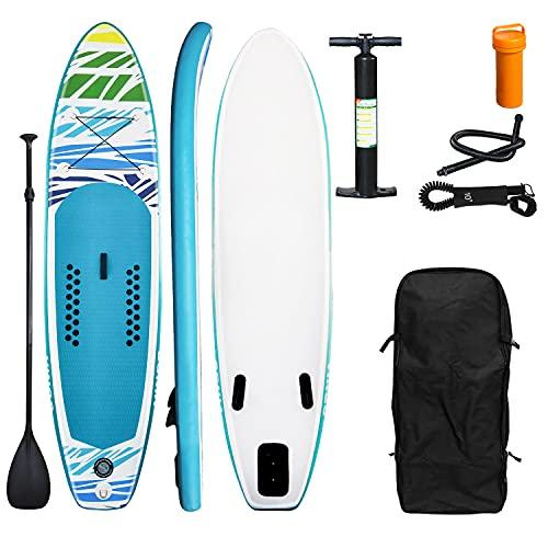 Einfeben SUP Board, Aufblasbares Stand Up Paddle Board, Stand Up Paddle Set, 6 Zoll dick, bis 100KG, Komplettes Zubehör, inkl. Paddel Paddling Hochdruck-Pumpe Rucksack