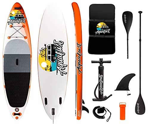 AQUALUST 10'6' SUP Board Stand Up Paddle Surf-Board aufblasbar Paddel Leash ISUP 320x81cm orange