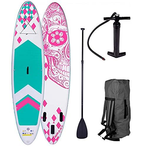 BRAST SUP Board Stand up Paddle Paddling Candy Skull 3 Modelle 320x76x15cm aufblasbar Alu-Paddel Hochdruck-Pumpe Rucksack Kick-Pad 130KG Pink