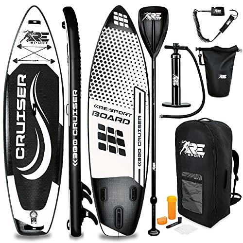 RE:SPORT SUP Board Set aufblasbar | Stand Up Paddle Board mit Zubehör | Paddling Surfbrett | Surfboard für...