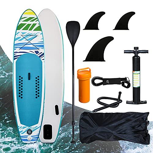Einfeben Stand Up Paddling Board aufblasbar,Bis 100 kg Tragkraft,3 Finnen,Doppelhub Pumpe für Einsteiger, mit Pumpe 320 * 76 * 15 cm