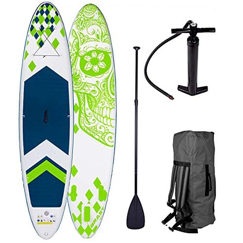 BRAST SUP Board Stand up Paddle Paddling Candy Skull 3 Modelle 320x76x15cm aufblasbar Alu-Paddel Hochdruck-Pumpe Rucksack Kick-Pad 130KG Grün