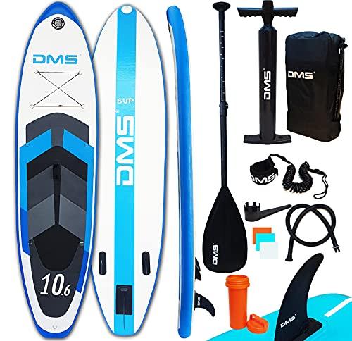 DMS® Aufblasbare SUP Board Set Stand Up Paddle Board 320x76x15cm 10.6' Premium Surfboard 3 Finnen Wassersport...