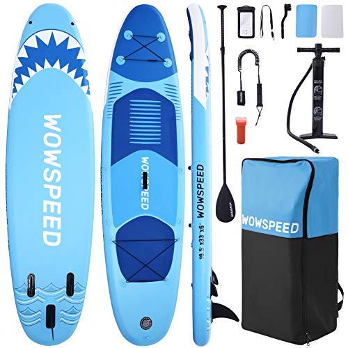 OneV FT Aufblasbares Stand up Paddling Board, Rutschfestes SUP Board Set, 10.5ft, Traglast 130kg, Surfboard Stabiles Komplettes Zubehör Paddel,Hochdruck-Pumpe, Rucksack