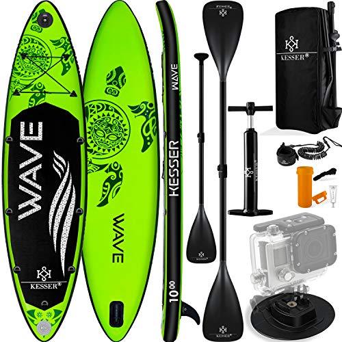 KESSER® Aufblasbare SUP Board Set Stand Up Paddle Board | 366x77x15cm 12.0' | Supboard Premium Surfboard Wassersport | 6 Zoll Dick | Komplettes Zubehör | 130kg Grün