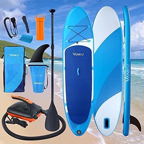 Vanku 11' Stand Up Paddling Board 160KG Mit Elektrische Pumpe, SUP Paddel, Leash, 20L wasserdichte Tasche, Finne, Reparaturset