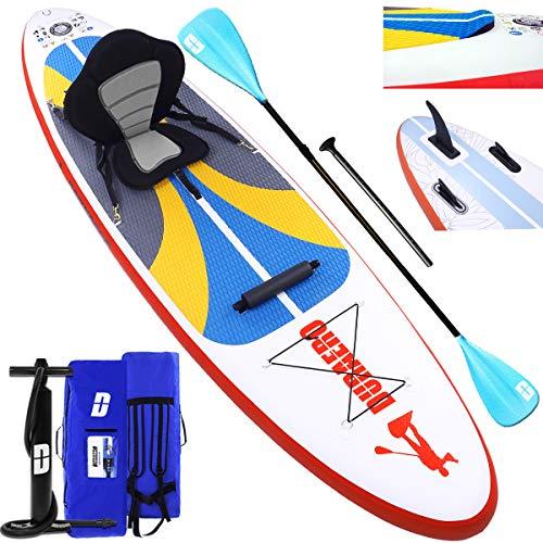 DURAERO Stand up Paddle Board Aufblasbare SUP Board kajak Stand up Paddling Board, inkl. Kajak Sitz, Doppel-Paddel, Luftpumpe, Komplettes Zubehör, 305x76x15cm, bis 110kg, Weiß