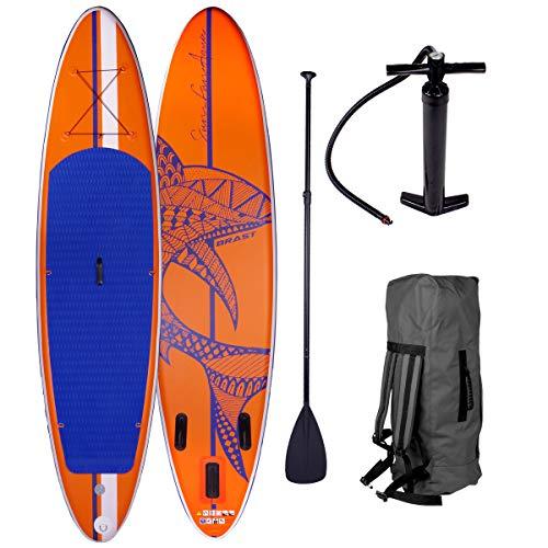BRAST SUP Board Stand up Paddle Paddling Shark Orange 320x76x15cm aufblasbar Alu-Paddel Hochdruck-Pumpe...
