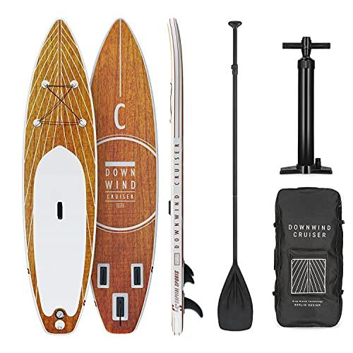 Capital Sports Downwind Cruiser aufblasbares Paddelboard SUP-Board-Set, Set: Board + Paddel + Leash + Rucksack + Pumpe, Cruiser Shape, Teleskop-Paddel, 330 x 77 x 15 cm, orange