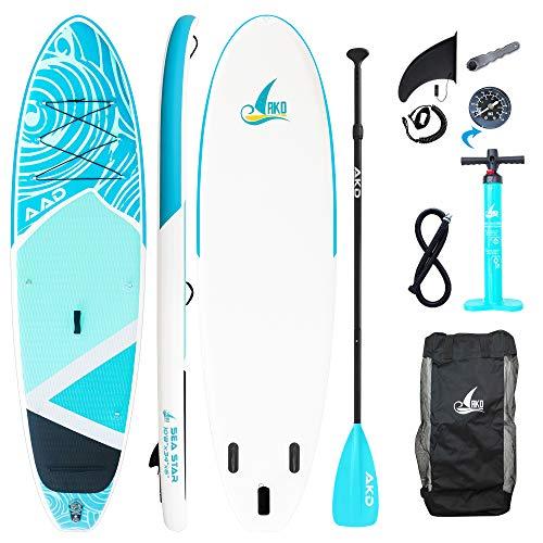 AKD Standup Paddel Board Aufblasbar Dolphin 11' 335x83x15cm SUP-Board 170KG/346L, Pumpe mit Manometer, Verstellbarer Sport Alu-Paddel, Rucksack und Leash (Cyan)
