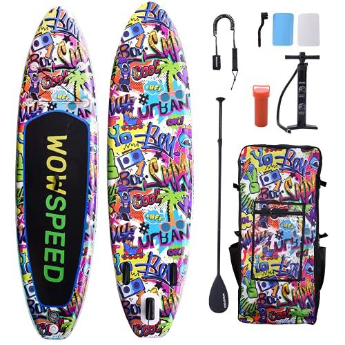 wowspeed Stand Up Paddling Board, 320 x 84 x15cm Stand Up Paddling Board aufblasbar,130KG Aufblasbares SUP Board Surfbrett Sets, mit hochwertigem Zubehör Surfboard Stabiles Sup Paddle Board (B)